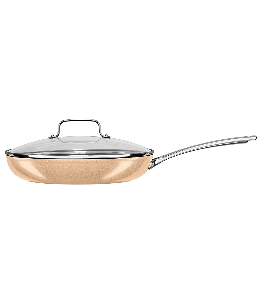 KitchenAid Toffee Delight Hard Anodized Nonstick Skillet with Glass Lid