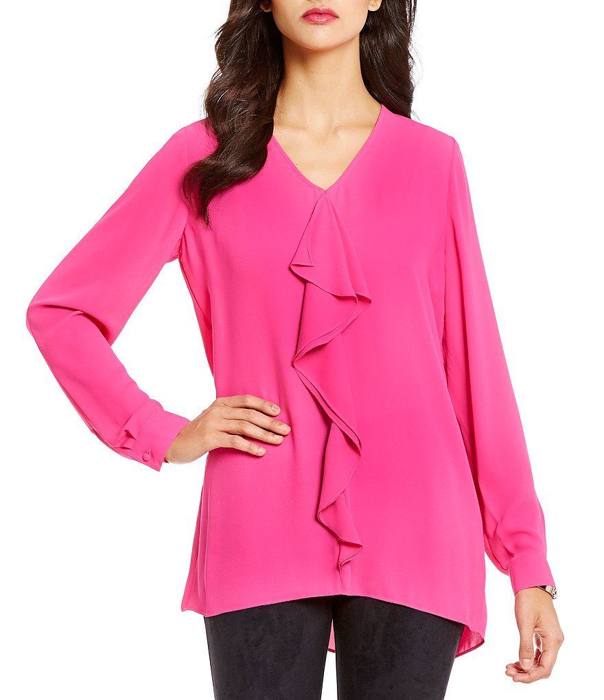 Cremieux Kayleigh V-Neck Long Sleeve Georgette Ruffle Blouse