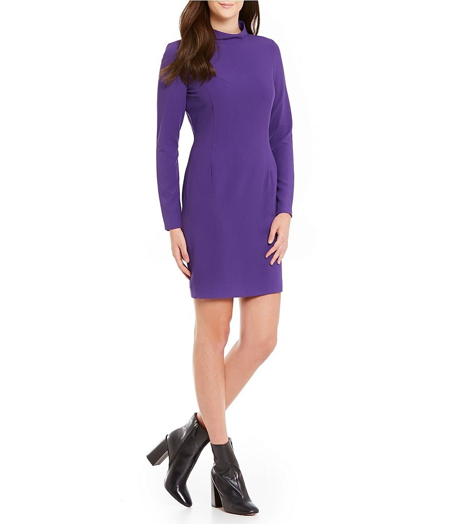 Cremieux Cora Long Sleeve Mock Neck Solid Crepe Dress