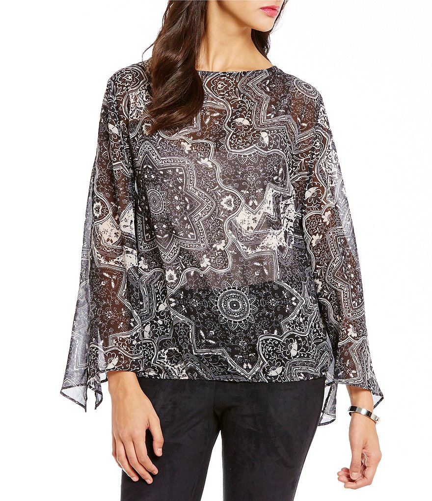 Cremieux Diem Round Neck Long Sleeve Printed Blouse