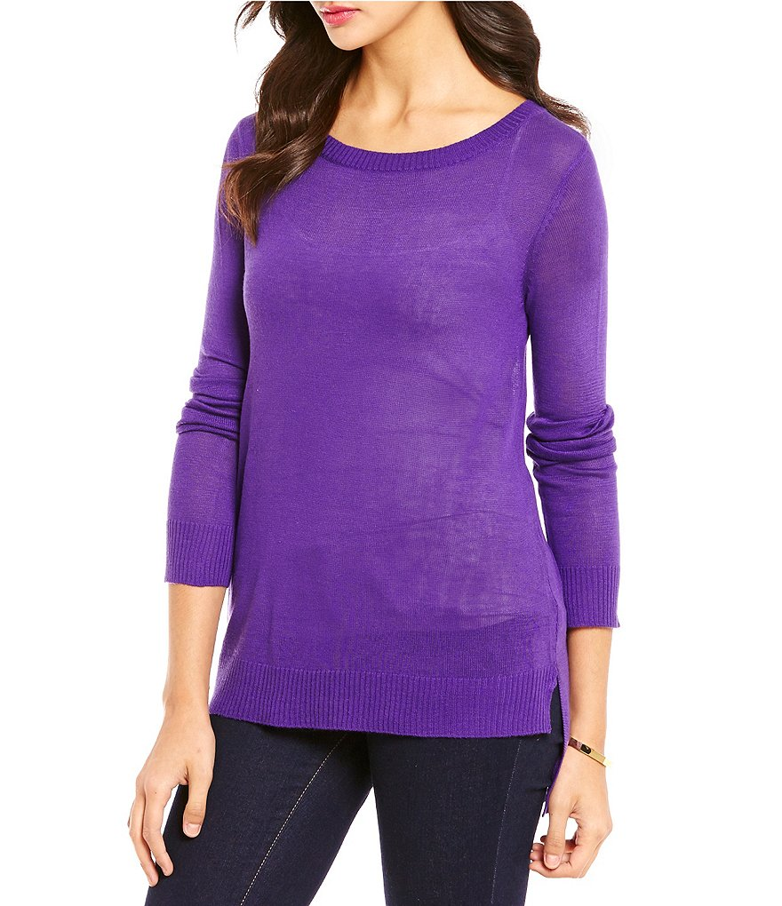 Cremieux Ora Crew Neck Long Sleeve Knit Top