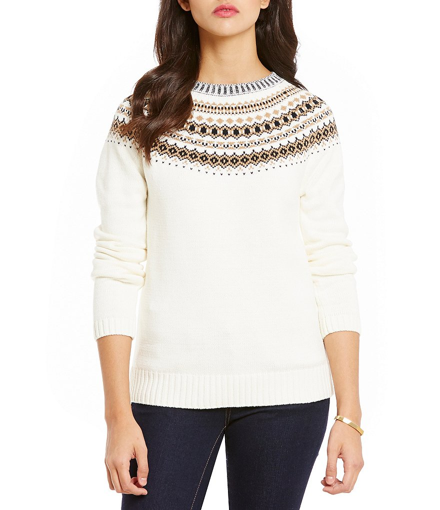 Cremieux Isa Pattern Round Neck Long Sleeve Sweater