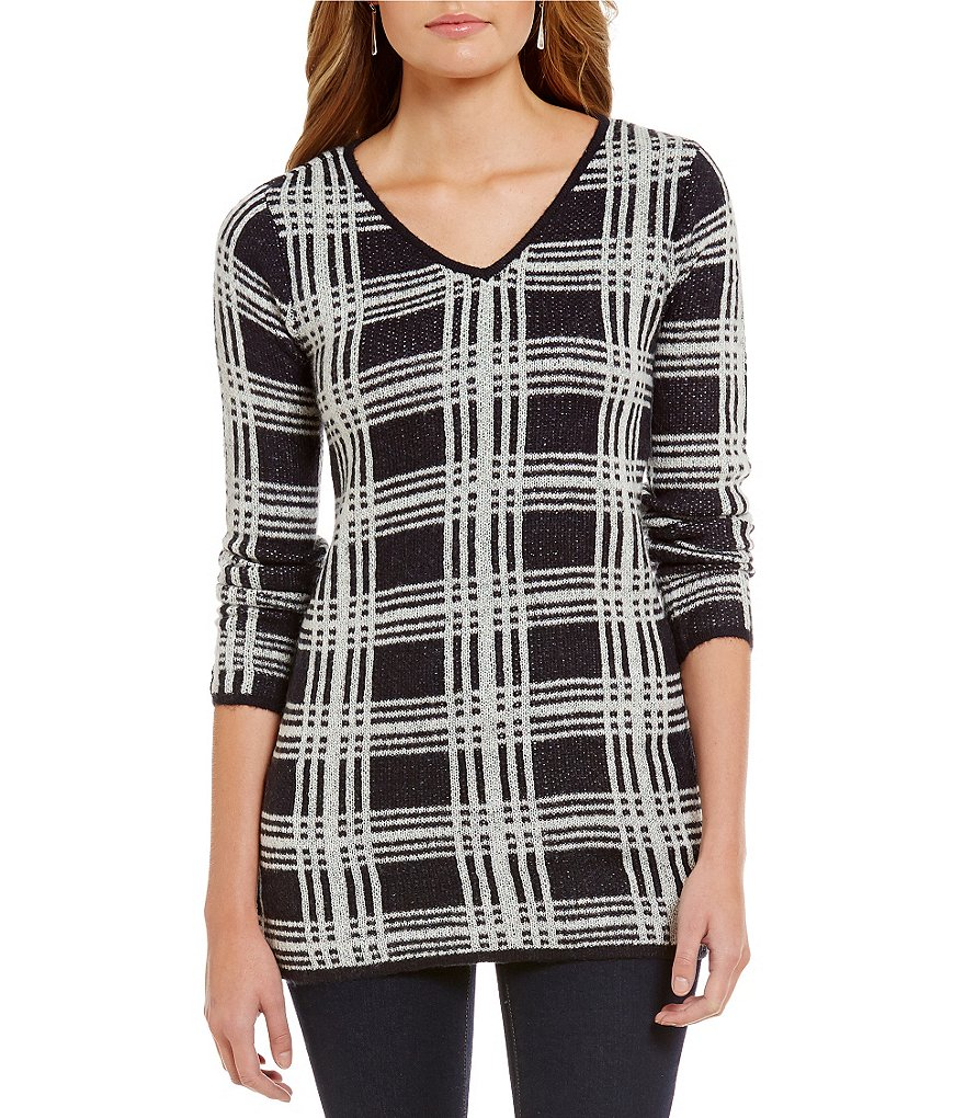 Cremieux Effie V-Neck Long Sleeve Slouchy Plaid Sweater