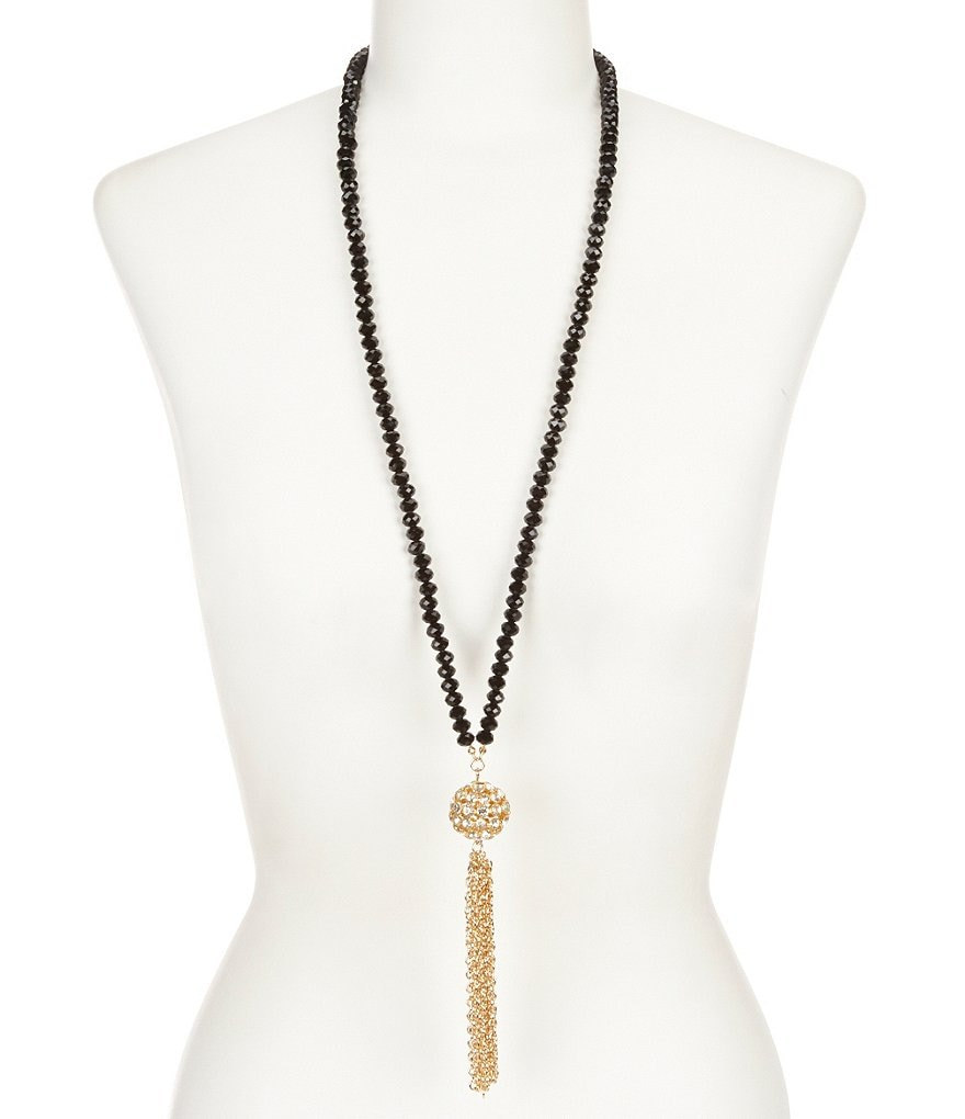 Natasha Accessories Long Tassel Necklace