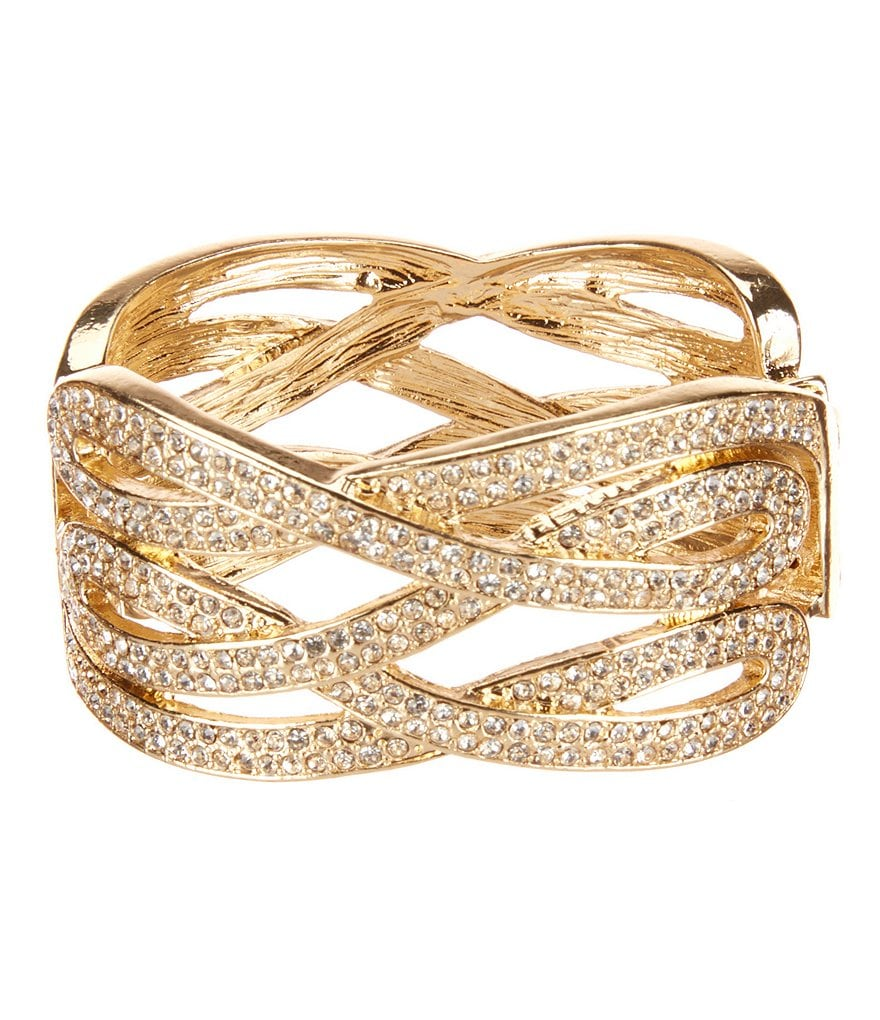 Natasha Accessories Twisted Crystal Cuff Bracelet