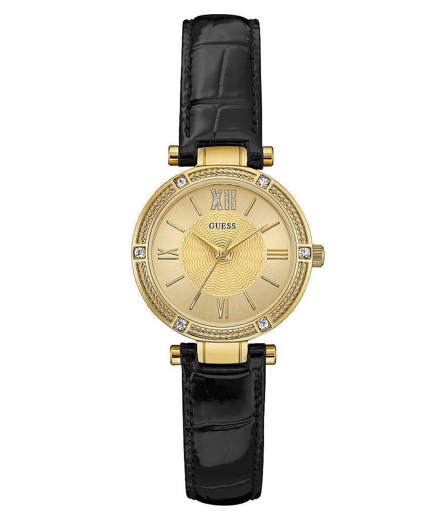 Guess Petite Analog Leather-Strap Watch
