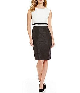 Preston & York Chandra Sheath Shantung Sleeveless Dress Image