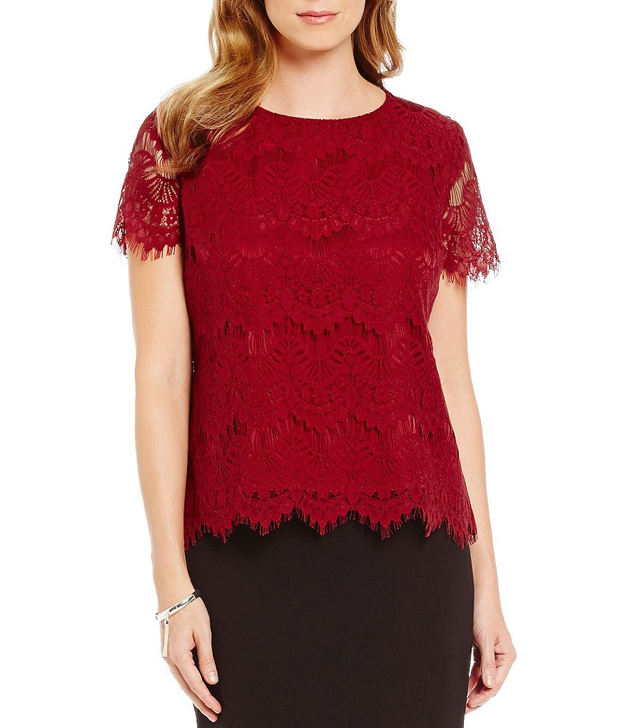 Preston & York Theresa Lace Short Sleeve Blouse