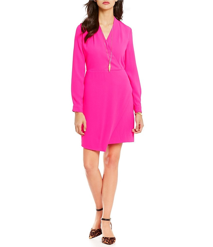 Cremieux Bailey Crepe Long Sleeve Wrap Dress