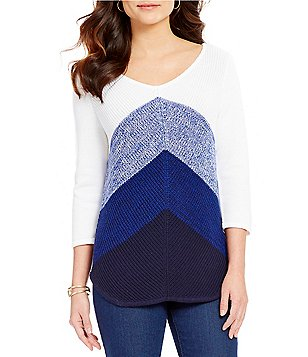 Westbound Petites V-Neck 3/4 Sleeve Printed Sweater