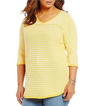 Westbound Plus 3/4 Sleeve V-Neck Sweater