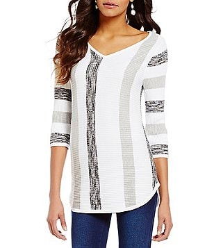 Westbound 3/4 Sleeve V-Neck Striped Sweater