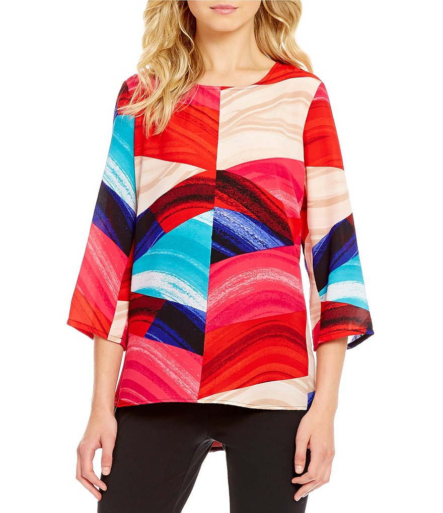 Preston & York Jillian Printed Geometric 3/4 Sleeve Blouse