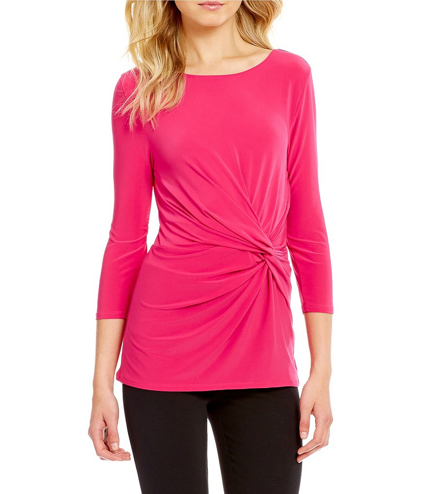 Preston & York Rose Twist Side 3/4 Sleeve Blouse