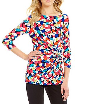 Preston & York Rose Geometric Print Front Twist 3/4 Sleeve Blouse