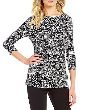 Preston & York Rose Leopard Front Twist 3/4 Sleeve Blouse