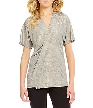 Preston & York Jordan V-Neck Short Sleeve Asymmetrical Hem Metallic Knit Top