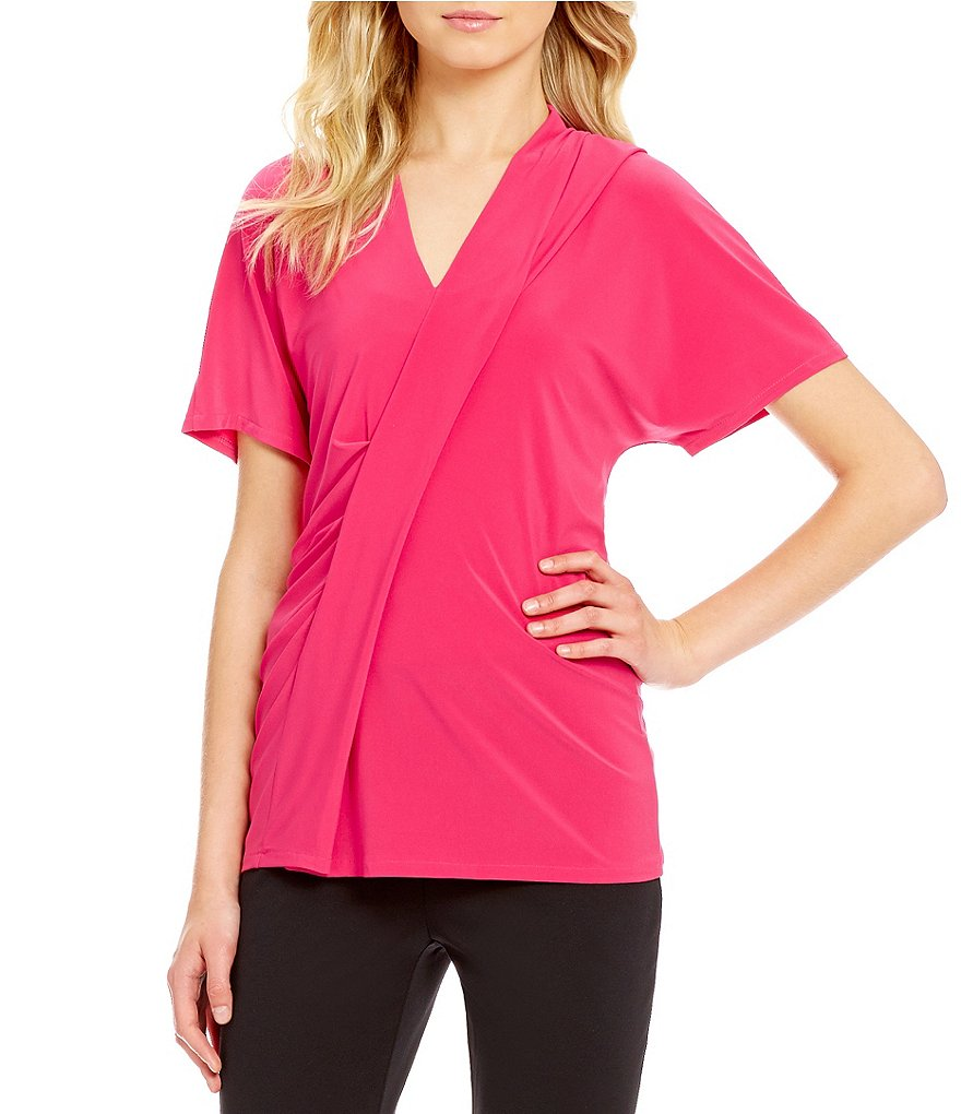 Preston & York Jocelyn Asymmetrical V-Neck Short Sleeve Blouse