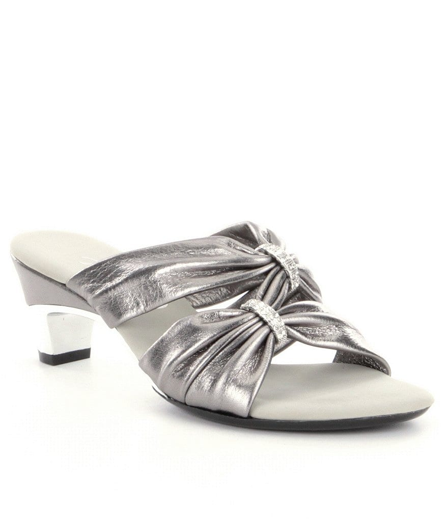 Onex Kylee Metallic Leather Criss Cross Metallic Trim Dress Slide Sandals