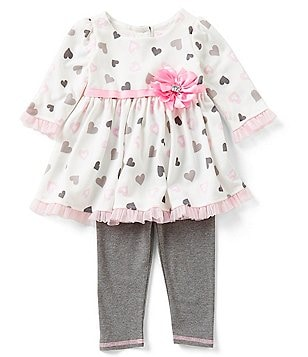 Sweet Heart Rose Little Girls 2T-4T Heart-Print Ruffled Dress and Leggings Set