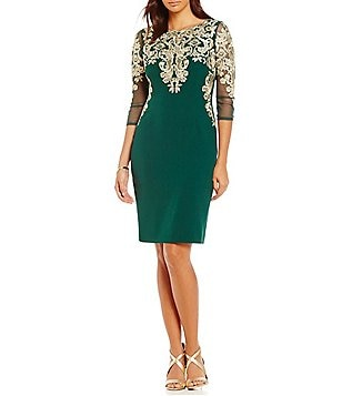Katherine Kelly Thelma Embroidered Crepe Dress