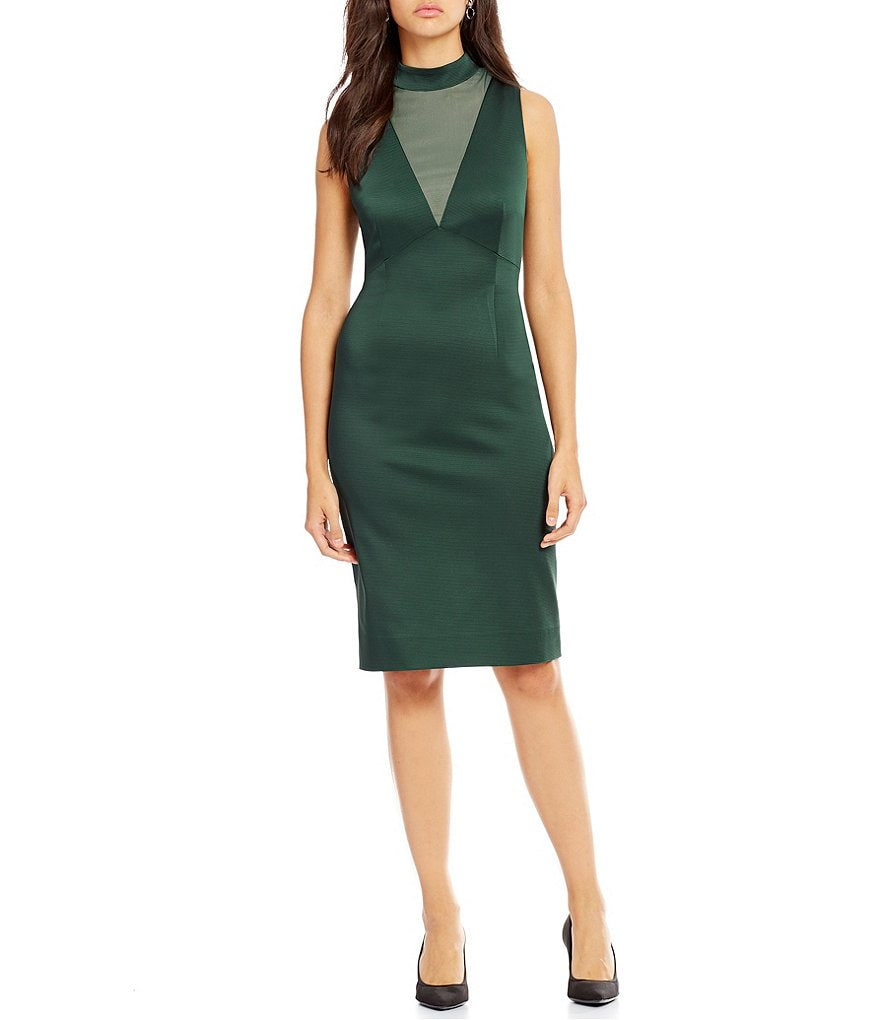 Katherine Kelly Whitney Mock Neck Sleeveless Dress