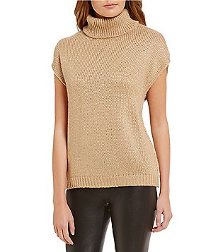 Katherine Kelly Kai Turtleneck Metallic Knit Top