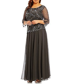 Jkara Plus Boat Neck 3/4 Sleeve Beaded 2-Piece Gown