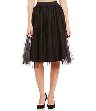 Belle Badgley Mischka Winston Layered Fit-And-Flare Tulle Skirt