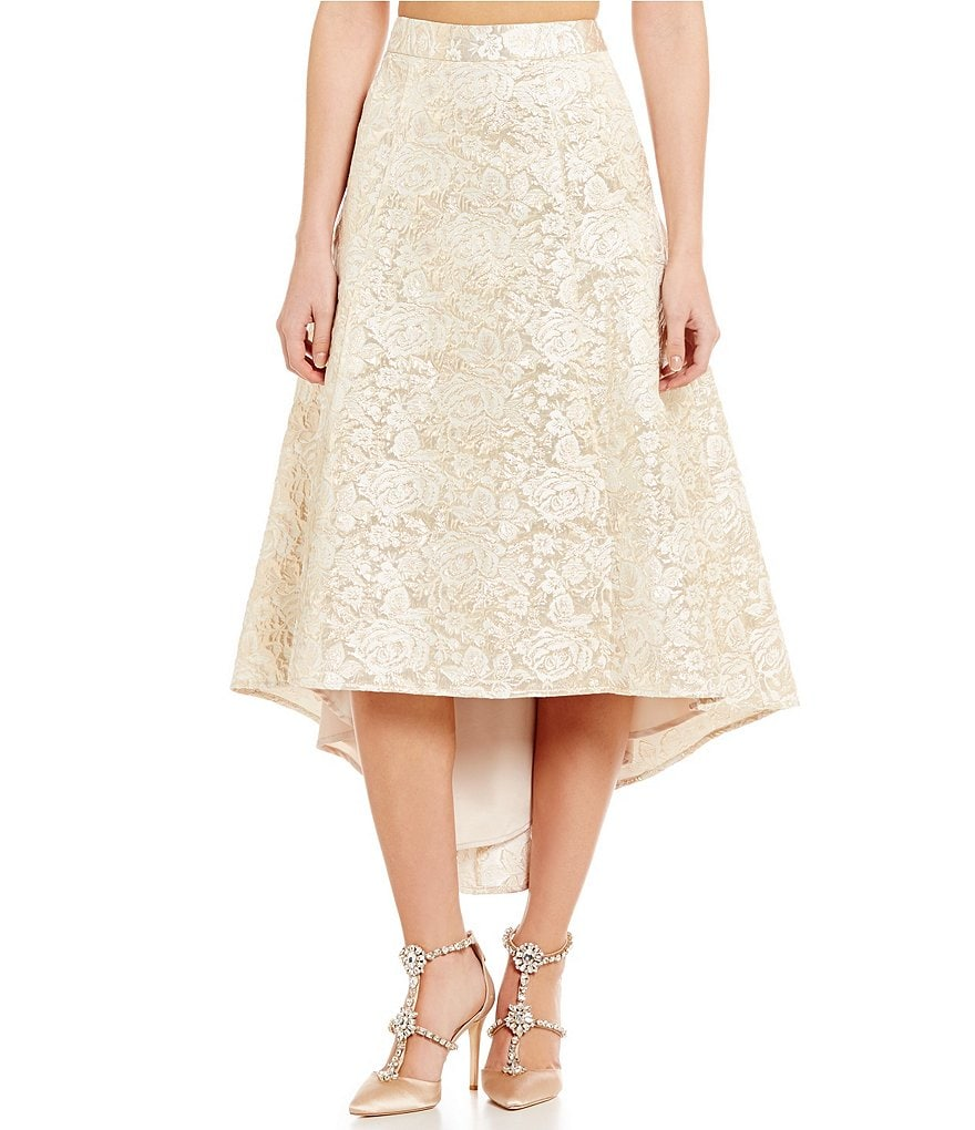 Belle Badgley Mischka Willow Hi-Low Brocade Fit-And-Flare Skirt