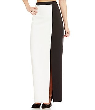 Belle Badgley Mischka Windsor Colorblock Maxi Crepe Skirt