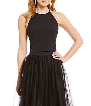 Belle Badgley Mischka Nora High Neck Crepe Crop Top