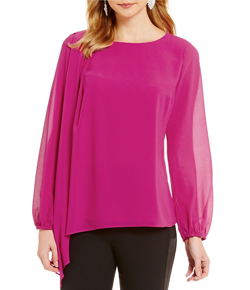 Belle Badgley Mischka Wren Pleated Shoulder Asymmetrical Hem Top