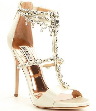 Badgley Mischka Dent Satin Jeweled Dress Sandals