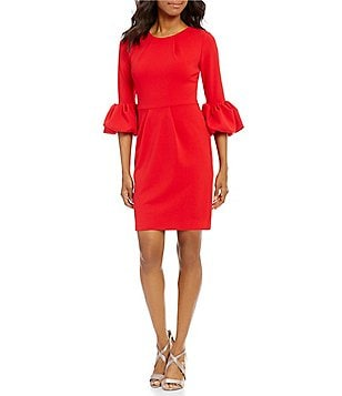 Betsy & Adam 3/4 Bell Sleeve Sheath Dress