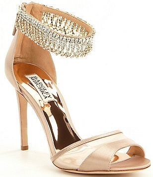 Badgley Mischka Gazelle Satin & Mesh Crystal Detailed Dress Sandals