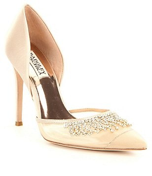 Badgley Mischka Genna Jeweled Satin & Mesh d´Orsay Pumps