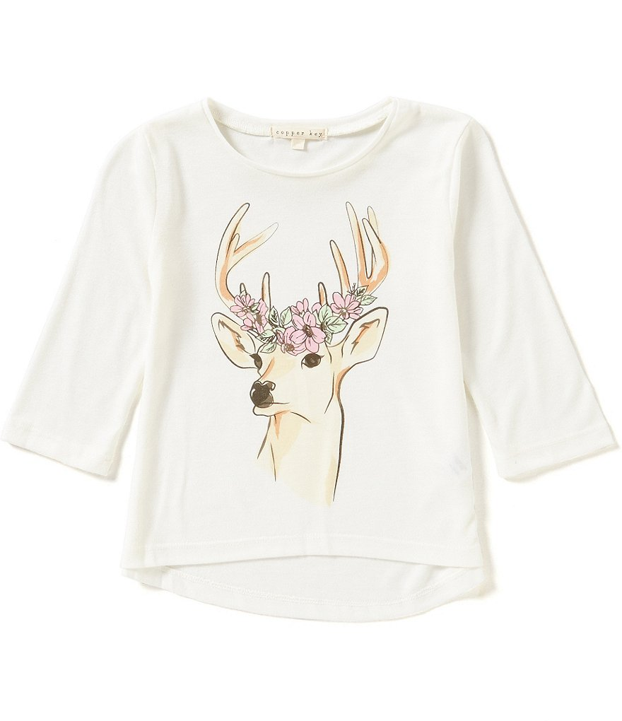 Copper Key Little Girls 4-6X Deer-Floral Graphic Tee