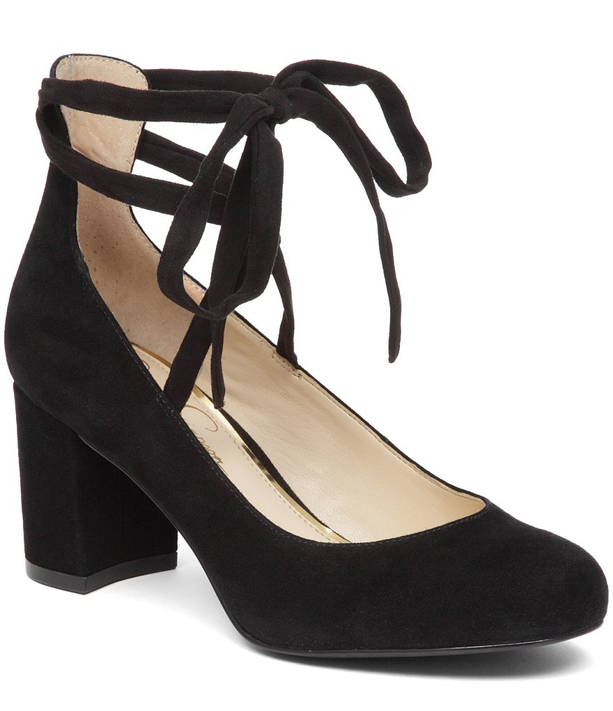 Jessica Simpson Venya Suede Slip-On Lace Up Pumps