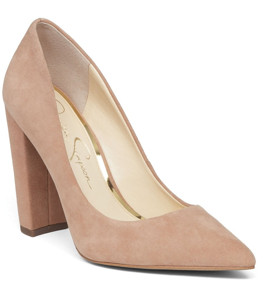 Jessica Simpson Tanysha Suede Leather Pointed-Toe Block Heel Slip-On Pumps