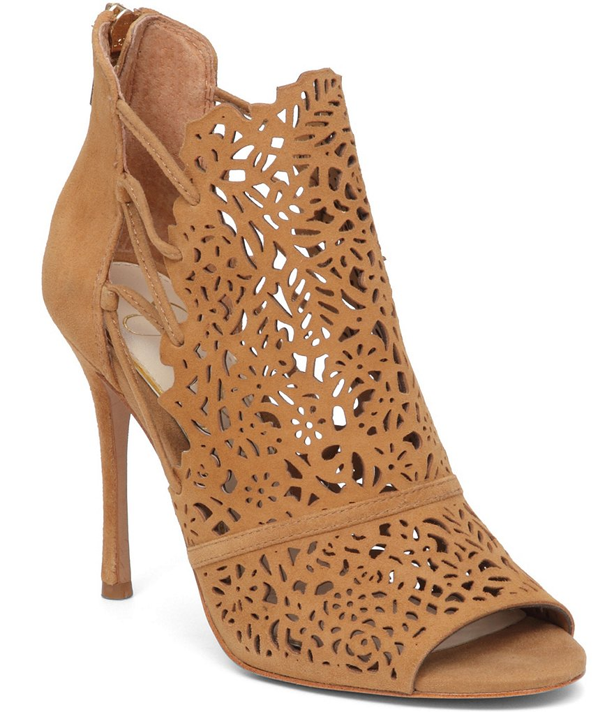 Jessica Simpson Keelin Laser-Cut Suede Side Lace-Up Peep Toe Pumps
