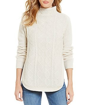 RD Style Funnel Neck Long Sleeve Solid Cable Knit Sweater