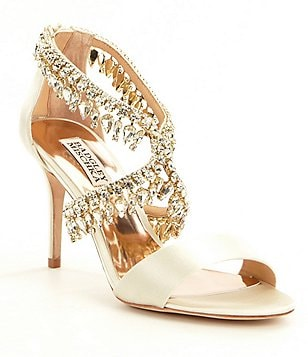 Badgley Mischka Grammy Satin Jeweled Dress Sandals