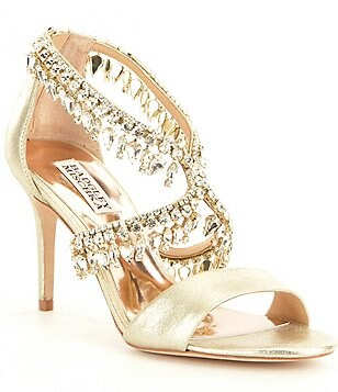 Badgley Mischka Grammy II Metallic Jeweled Dress Sandals