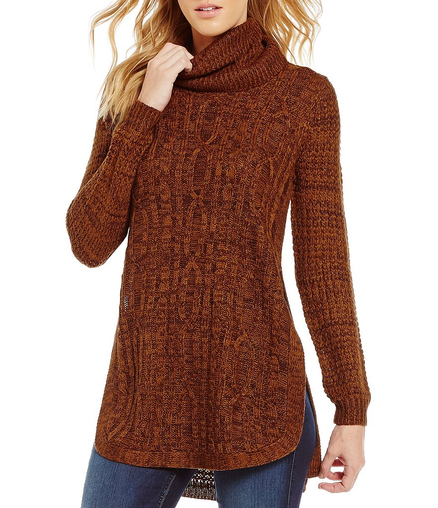 RD Style Cowl Neck Long Sleeve Solid Cable Knit Sweater