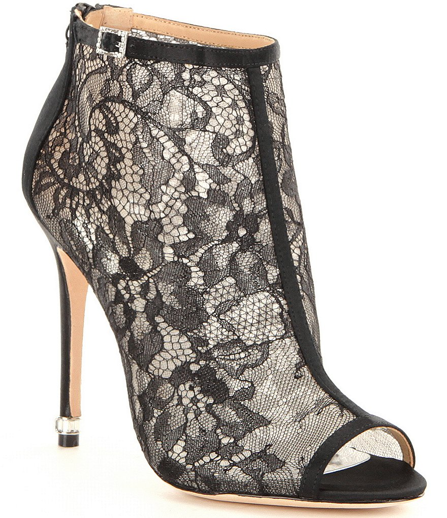 Badgley Mischka Glowing Lace Peep Toe Booties