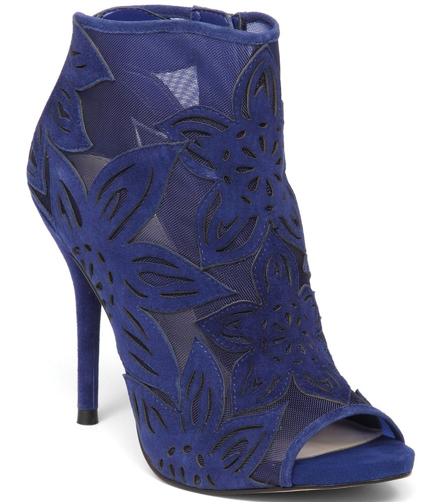 Jessica Simpson Bliths Peep Toe Flower Detail Mesh Ankle Boots