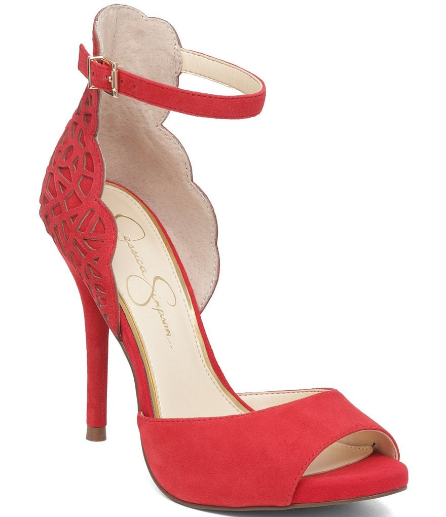 Jessica Simpson Laser-Cut Bellona Peep Toe Ankle Strap Pumps