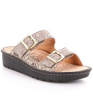 Mephisto Olympia Leather Reptile Embossed Buckle Slide Sandals
