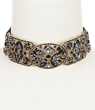 Belle Badgley Mischka Bleu Noire Grosgrain Ribbon Statement Choker Necklace